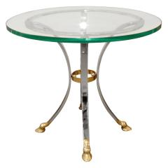 Neoclassical Style End Table in Brass and Steel 1960s - 1181184