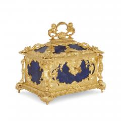 Neoclassical style blue lapis lazuli and gilt bronze jewellery casket - 1577283
