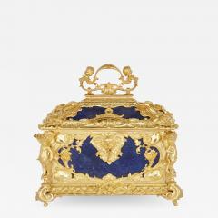 Neoclassical style blue lapis lazuli and gilt bronze jewellery casket - 1579249