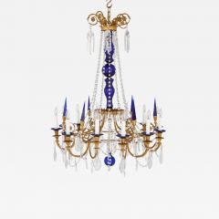 Neoclassical style gilt bronze clear and blue cut glass chandelier - 1473170