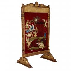 Neoclassical style giltwood firescreen with embroidery - 1443610