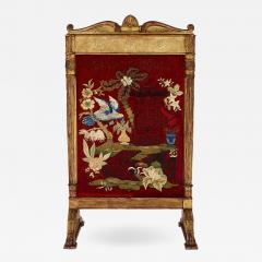 Neoclassical style giltwood firescreen with embroidery - 1446463