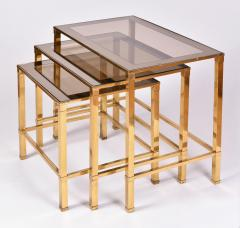 Nest of 1960s Italian brass side tables - 995881