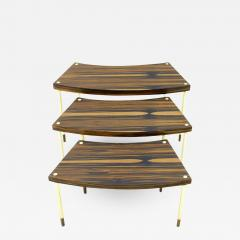 Nesting Tables in Brass and Macassar circa 1970s - 895422