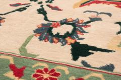 New Agra Traditional Red and Beige Cotton Rug with Herati Design - 1204389