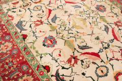 New Agra Traditional Red and Beige Cotton Rug with Herati Design - 1204390