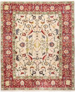 New Agra Traditional Red and Beige Cotton Rug with Herati Design - 1204391