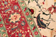 New Agra Traditional Red and Beige Cotton Rug with Herati Design - 1204392