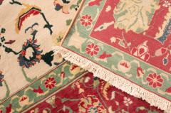 New Agra Traditional Red and Beige Cotton Rug with Herati Design - 1204393