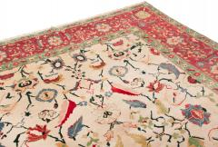 New Agra Traditional Red and Beige Cotton Rug with Herati Design - 1204394