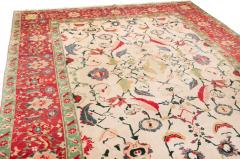 New Agra Traditional Red and Beige Cotton Rug with Herati Design - 1204395