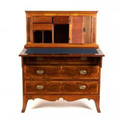 New England Hepplewhite step back tambour flip top secretary desk - 1939772