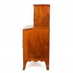 New England Hepplewhite step back tambour flip top secretary desk - 1939780