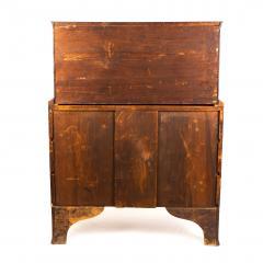 New England Hepplewhite step back tambour flip top secretary desk - 1939782