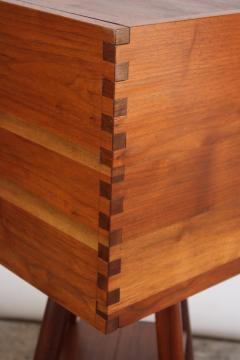 New Hope Style Carved Walnut Swivel Storage Cubby on Base - 732356