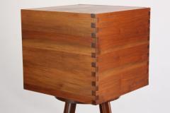 New Hope Style Carved Walnut Swivel Storage Cubby on Base - 732359
