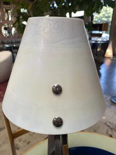 New Italian Midcentury Chrome And Murano Glass Desk Lamp 2000s - 1572524