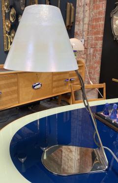 New Italian Midcentury Chrome And Murano Glass Desk Lamp 2000s - 1572525