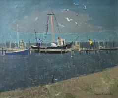 Nicolai Cikovsky Boats at Dock Montauk - 1935050