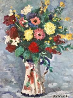 Nicolai Cikovsky Bouquet in Porcelain Pitcher  - 527573