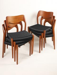 Niels Otto M ller Set of Six Scandinavian Modern Teak Cord Dining Chairs by Niels Moller - 2008029