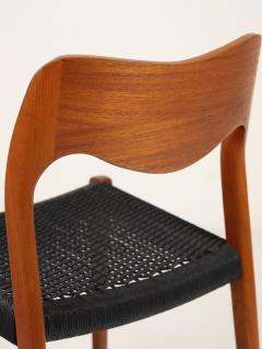Niels Otto M ller Set of Six Scandinavian Modern Teak Cord Dining Chairs by Niels Moller - 2008033
