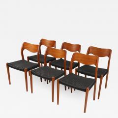 Niels Otto M ller Set of Six Scandinavian Modern Teak Cord Dining Chairs by Niels Moller - 2010141