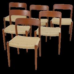 Niels Otto M ller Set of Six Teak Scandinavian Modern Dining Chairs by Niels Moller - 2132553