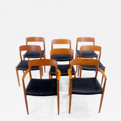 Niels Otto Moller Set of Eight Danish Modern Teak Dining Chairs Designed by Niels Moller - 637796