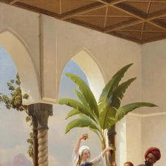 Niels Simonsen Orientalist painting of parents playing with their son by Simonsen - 1290578