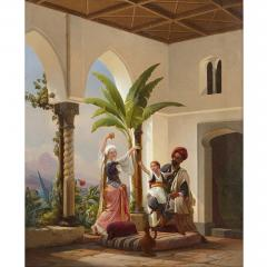 Niels Simonsen Orientalist painting of parents playing with their son by Simonsen - 1290580