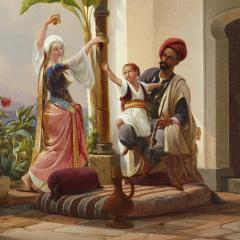 Niels Simonsen Orientalist painting of parents playing with their son by Simonsen - 1290582