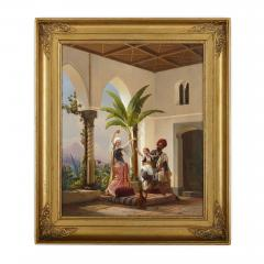 Niels Simonsen Orientalist painting of parents playing with their son by Simonsen - 1290583
