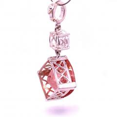 Nighttime Sparkle Morganite and White Cambodian Zircon Pendant from Gemjunky - 1714946