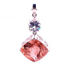 Nighttime Sparkle Morganite and White Cambodian Zircon Pendant from Gemjunky - 1714947