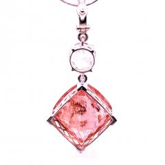 Nighttime Sparkle Morganite and White Cambodian Zircon Pendant from Gemjunky - 1714948