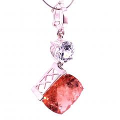 Nighttime Sparkle Morganite and White Cambodian Zircon Pendant from Gemjunky - 1714949