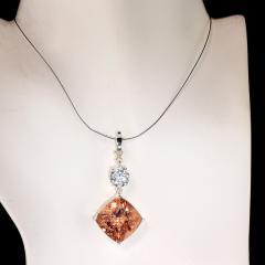 Nighttime Sparkle Morganite and White Cambodian Zircon Pendant from Gemjunky - 1714950