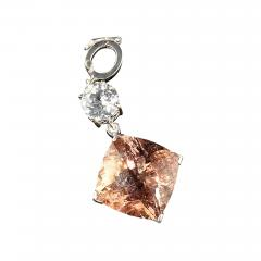 Nighttime Sparkle Morganite and White Cambodian Zircon Pendant from Gemjunky - 1717999