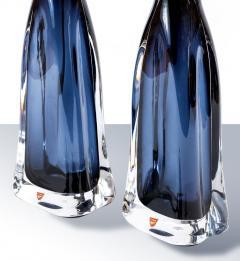 Nils Landberg Pair of Nils Landberg for Orrefors Blue Glass Lamps - 1289752