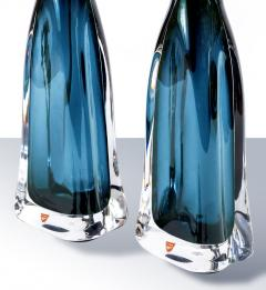 Nils Landberg Pair of Nils Landberg for Orrefors Teal Glass Lamps - 1346045