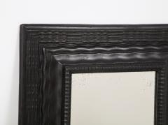 Northern Italian ripple and wave carved and ebonized mirror frame - 1013231