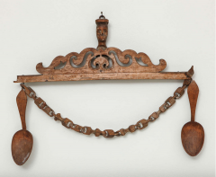 Norwegian Folk Art Spoon Rack and Spoon Collection - 296597