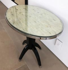 Not Available Oval Side Tables with Mother of Pearl Top and Black Lacquered Base - 753289
