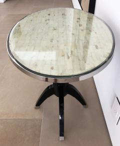 Not Available Oval Side Tables with Mother of Pearl Top and Black Lacquered Base - 753290