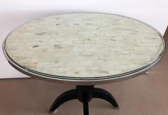 Not Available Oval Side Tables with Mother of Pearl Top and Black Lacquered Base - 753295