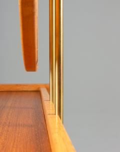 Nybro Fr seke Swedish Vanity Table in Teak Oak and Brass by AB Nybrofabriken - 1284952