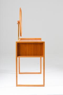 Nybro Fr seke Swedish Vanity Table in Teak Oak and Brass by AB Nybrofabriken - 1284957