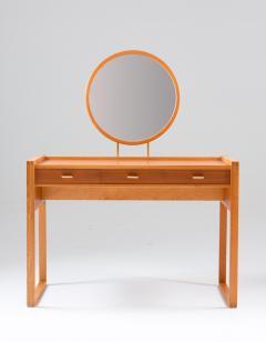 Nybro Fr seke Swedish Vanity Table in Teak Oak and Brass by AB Nybrofabriken - 1284959