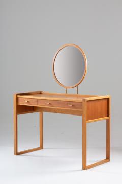 Nybro Fr seke Swedish Vanity Table in Teak Oak and Brass by AB Nybrofabriken - 1284961